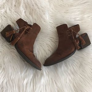 Born Brown Distressed Burnished Sling Back Booties